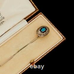 Antique Vintage 925 Sterling Silver Native Navajo Turquoise Shadowbox Pin Brooch