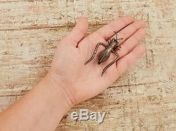 Antique Vintage 925 Sterling Silver Native Zuni Turquoise Grasshopper Pin Brooch
