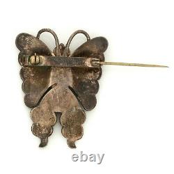 Antique Vintage Sterling Silver Native Navajo Turquoise Figural Pin Brooch 13.6g