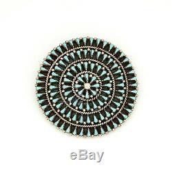 Antique Vintage Sterling Silver Native Zuni E YATSATTIE Turquoise Pendant Brooch