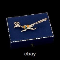Antique Vintage Sterling Silver Native Zuni Oyster Roadrunner Inlay Pin Brooch