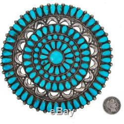 Antique Zuni Turquoise Brooch CEREMONIAL Petitpoint Old Pawn Natural ONDELACY