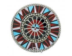 Aprilene Unkestine, Zuni Sunface Pin, Pendant, Multi Stone Inlay, Handmade, 2 in