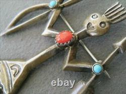 BEGAY Native American Warrior Yei Turquoise Coral Sterling Silver Pin Brooch