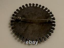 Beautiful Old Pawn Zuni Sterling Silver and Turquoise Petit Point Brooch / Pin
