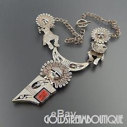 Bennie Ration Navajo 925 Silver Spiny Oyster 3 Kachina Necklace Pin Pendant