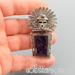 Bennie Ration Navajo Sterling Silver Sugilite Feathers Huge Kachina Pin Pendant