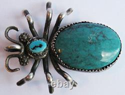 Best Large Vintage Navajo Indian Silver Turquoise Spider Pin Brooch Or Pendant