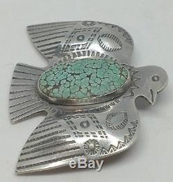 Best Sterling Silver Thunderbird Broach With Green Spiderweb Turquoise Navajo H5