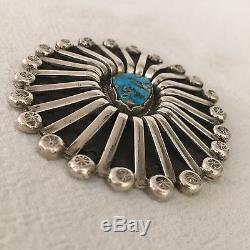 Big Heavy Vintage 1940s NAVAJO Sterling Silver & MORENCI TURQUOISE Pin Brooch