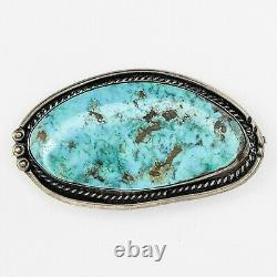 Big Sterling Silver Turquoise Pendant Pin Brooch Native American Navajo Jewelry