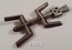 Big Vintage Native Indian Yei Sterling Silver Sand Cast Pin Brooch