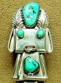 Big Vintage Old Pawn Navajo Sterling Silver Turquoise Kachina Pin Pendant Signed