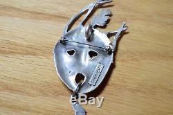 Bill Prokopiof Alaska Aleut Artist Sterling Silver Pendant Pin Face 3679