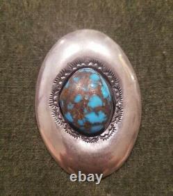 Bisbee Turquoise Brooch Rare Matrix Sterling Silver IHMSS Navajo Robert Kelley