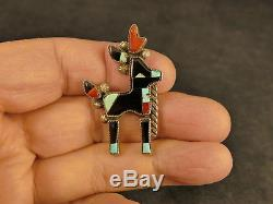 Bowman Paywa Zuni Mosaic Inlay Silver Antelope Brooch Pin Vintage Tucson Estate