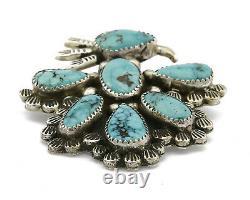 C. 1980 Hopi Artist Dorothy Secatero Natural Turquoise Thunderbird Pendant Pin