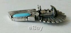 CAROL FELLEY Huge 925 Sterling Silver & Turquoise Kachina Pin Pendant Brooch