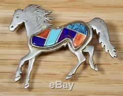 Calvin Begay Navajo Sterling Silver Inlay Horse Pendant Brooch 7185