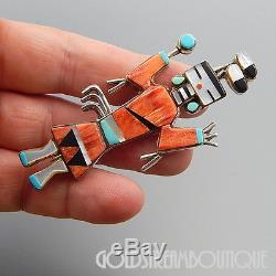 Calvin Desson Navajo Sterling Silver Multi Gemstone Inlay Kachina Pin Pendant