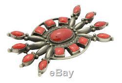 Calvin Martinez, Pin, Mediterranean Coral, Sterling Silver, Navajo Handmade