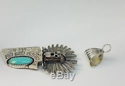 Carol Felley Navajo Sterling Silver Turquoise Large Kachina Pendant Pin