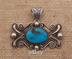 Collector Navajo Silver Pin Brooch Pendant Signed Rick Martinez Choice Turquoise