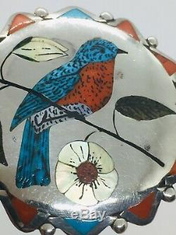 Coonsis Zuni Native American Sterling Silver Turquoise & Coral Bird Pin Pendant