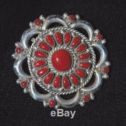 Coral & Sterling Silver Zuni Petit Point Pendant/Pin by Lorraine Waatsa 1.75