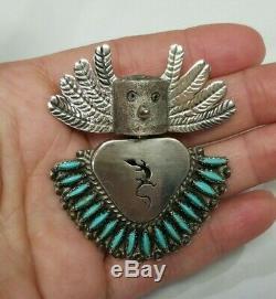 DEL FRED MASAWYTEWA Hopi Kachina Sterling SILVER needlepoint PENDANT PIN turquoi