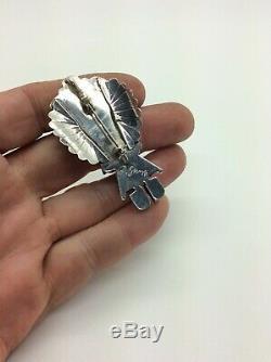 DORIS SMALLCANYON Navajo Pin/Pendant Kachina Sterling Silver Coral Signed