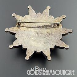 Danny Clark Navajo Sterling Sterling Silver Turquoise Sky Star Brooch Pin