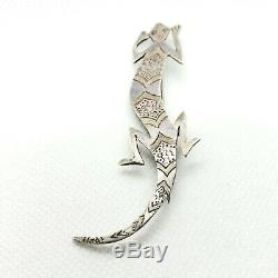 Danny Romero Yaqui Silversmith Sterling Silver 925 Detailed Lizard Brooch Pin