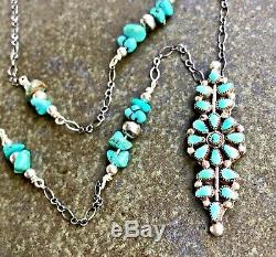 Dead Pawn SIGNED'ANU' Petit Point Cluster Turquoise Silver pin/ pendant necklac