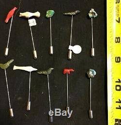 Dealer Lot 40 Assorted Lapel Pins From Zuni Ca 1970s