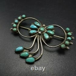 Delicate Vintage ZUNI Sterling Silver TURQUOISE Petit Point Cluster PIN/BROOCH