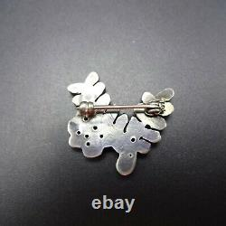 Delicate Vintage ZUNI Sterling Silver TURQUOISE Petit Point PIN/BROOCH