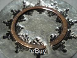 Detailed! Vintage Navajo Basket Sterling Silver Native American Pin Brooch Old