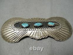 Detailed! Vintage Navajo Bursting Sterling Silver Turquoise Pin Old