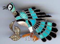 Dixon Shebola Vintage Zuni Sterling Inlaid Stones Bluejay Or Roadrunner Bird Pin