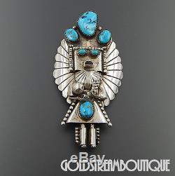 Doris Smallcanyon Navajo Sterling Silver Turquoise Kachina Pendant Brooch Pin