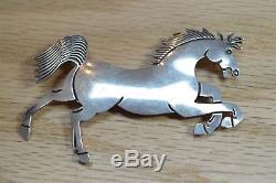 Douglas Etsitty Navajo Artist WILD HORSE MUSTANG Sterling Silver Brooch 3966