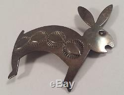 Douglas Etsitty Vintage Navajo Indian Sterling Silver Rabbit Hare Pin Brooch