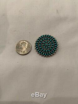 E. G Sterling Silver Zuni Turquoise Round Pendant/Pin