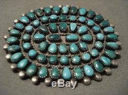 Earlier 1900's Vintage Navajo Turquoise Silver Pin Old