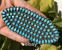 EARLY 4 3/8 Navajo PETIT POINT SNAKE EYE TURQUOISE Sterling Silver Pin BROOCH