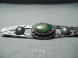 Early 1900's Vintage Navajo Cerrillos Turquoise Sterling Silver Pin Old