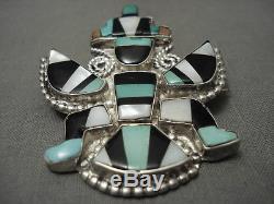 Early 1900's Vintage Zuni Cerrillos Kachina Silver Pin Old