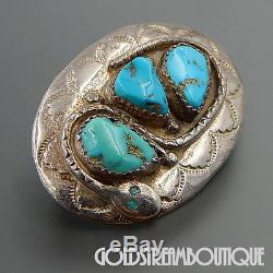 Effie Calavaza Zuni Sterling Silver Gorgeous American Turquoise Snake Pin Brooch