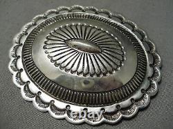 Elaborate Vintage Navajo Sterling Silver Concho Pin Old